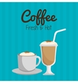 coffee cup and glass straw graphic vector image