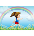 Jogging Rainbow Girl vector image vector image