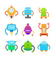 funny colorful robots collection of vector image vector image