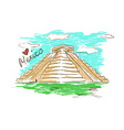 Sketch of Chichen Itza Mayan Pyramid in Mexico vector image