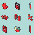 algebra color outline isometric icons vector image