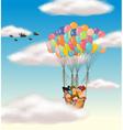 Kids flying in basket vector image