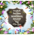 Merry Christmas wooden board garland vector image