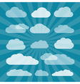 Transparent Clouds Cut From Paper on Blue vector image