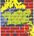 Urban graffiti on a brick wall vector image