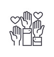 volunteer hands linear icon sign symbol vector image