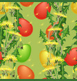 seamless pattern easter egg and dandelion vector image