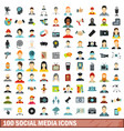 100 social media icons set flat style vector image
