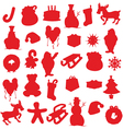 isolated christmas items silhouettes vector image vector image