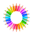 Colorful rainbow pencils in the circle isolated vector image
