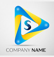 letter s symbol in the colorful triangle vector image