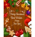 Merry Christmas New Year wishes greeting card vector image vector image