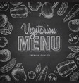 Chalk drawing typography vegetarian menu design vector image