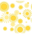 Seamless Pattern with Shiny Bright Yellow Sun vector image