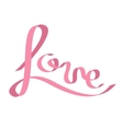 Pink satin ribbon in shape of word Love vector image vector image