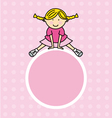 girl pink frame vector image vector image
