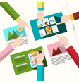 Creative team human hands with graphic design on vector image