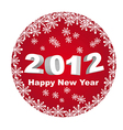 red circle happy new year 2012 isolated over white vector image