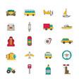 transportation icon set flat vector image