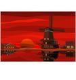 Dutch landscape at sunset vector image