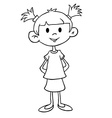 simple black and white little girl in dress vector image