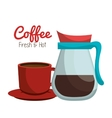 coffee pot glass cup graphic vector image