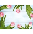 Pink tulips on white blue wooden EPS 10 vector image