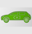 green hybrid origami car in paper art electric vector image