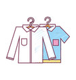 clean shirts design with clothes hanging vector image