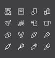 bakery tools white icon set on black background vector image