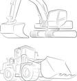 Bulldozer Excavator Line Art vector image vector image
