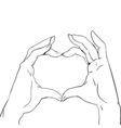 Hands in heart form sketch black and white vector image