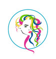 lovely female face with colorful long hairstyle vector image