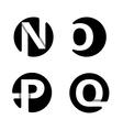 N O P Q White stripe in a black circle vector image