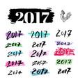 new year handwritten calligraphy set of numbers vector image