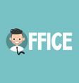 office sign young successful manager icon flat vector image