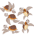 set of Cute Sea Turtles Cartoon vector image