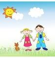 The children boy and girl with cat on the meadow vector image