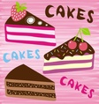 Three slices of cake vector image