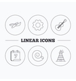 Guitar airplane and lighthouse icons vector image
