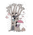 Magic Tree rabbits and birds vector image