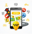 taxi services concept mobile phone app vector image