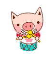 Drumming Pig vector image