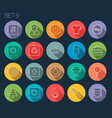 Round Thin Icon with Shadow Set 9 vector image