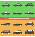 Icon set car body styles made in flat design vector image