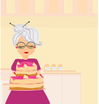 Grandma baked a delicious cake vector image