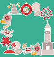 card design Pirate treasure gold coins island crab vector image