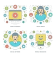 Flat line Social Media and Network Video vector image