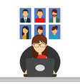 business woman sitting working in laptop people vector image