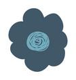 hand drawing dark blue flower vector image